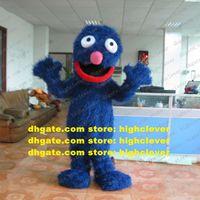Beauté Blue Elmo Cookie Monster Super Grover Mascot Costume Mascotte Freak Peluche Fourrure longue Fourrure petit nez rose n ° 537