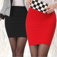 Skirts 2021 Women's Sexy Fashion Pencil Straight Skirt Folded High Waist Stretch Mini Slim Short 16 Color Mature Girl Temptation