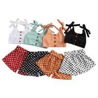 Pudcoco 1-6 Yıl 2 adet Toddler Bebek Kız Yaz Seti Askı Tops + Elastik Kalp Kısa Pantolon Rahat Çocuk Kıyafetler Giyim Setleri