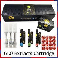 공장 도매 GLO 추출물 vape 카트리지 분무기 카트 0.8ml 1 ml 오일 pyrex 유리 탱크 510 세라믹 코일 최신 포장