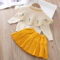LZH infantil meninas de bebê conjunto de outono inverno crianças roupas cereja tricô camisola saias 2pcs terno crianças roupas 201127