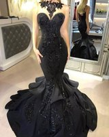 Black Mermaid Evening Dresses 2017 Sexy Illusion Neck Sequins Appliqued Cascading Ruffled Court Train Backless Formal Party Prom Gowns