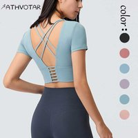 Yoga Outfit ATHVOTAR Beautiful Back Sports T-shirt Summer Breathable Short Sleeve With Chest Pad Women Fitness Push Up Hollow Top