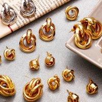 Старинные золотые нерегулярные геометрические серьги-гвоздики для женской девушки круглые оператор Oorbellen Party ювелирные изделия подарок 2021