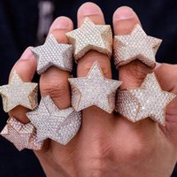 Men's Fashion Copper Gold Color Plated Ring Exaggerate High Quality Iced Out Cz Stone Star Shape Ring Jewelry
