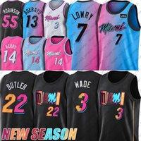 Jimmy Kyle Butler Lowry Basketbol Jersey Dwyane Dwayne Wade Formalar Bam Tyler Adebayo Herro Gömlek 55 Robinson Formalar 2021 Sezon Miamis