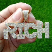 Pendant Necklaces Men Hip Hop Iced Out Bling RICH Words High Quality Zircon Hiphop Necklace Fashion Jewelry Drop