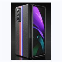 Moda Çizgili Desen Galaxy Z Katlama için Gerçek Deri Kapak 2 Hakiki Deri Darbeye Dayanıklı Arka Kılıf Samsung S20 Note20