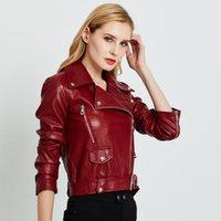 Women's Jackets Fashion Short Faux Leather Jacket Spring And Autumn Lapel Coat Zipper Motorcycle Bright Belt