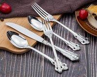 Estilo retro prata e ouro talheres de talheres conjunto de alta qualidade Talheres de aço inoxidável de aço inoxidável 5 peça conjunto faca garfo colher de jantar conjuntos rrd8190