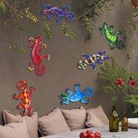 Garden Decorations Metal Gecko Wall Decor Art Craft Sculpture Hang Indoor Outdoor For Home Bedroom Living Room Landscape Decoration