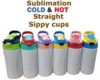 12oz 승화 스트레이트 sippy 컵 어린이 물병 350ml 빈 흰색 휴대용 스테인레스 스틸 진공 절연 마시는 텀블러 아이들 6 색 6 색 496