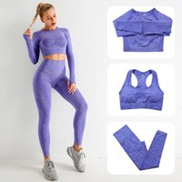 European American Womens TrackSuits Seamless Yoga a maglia yoga abiti fitness reggiseni a maniche lunghe Pantaloni a maniche lunghe in esecuzione Sweat-assorbente Asciugatura rapida Palestra Vestita a tre pezzi
