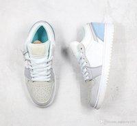 """الرمادي الأزرق 1 منخفضة """"باريس"""" مع الذهب jumpmen شعار كرة السلة أحذية السلة مصمم الرياضة أحذية رياضية 36-45"""