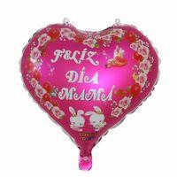 파티 장식 18 인치 심장 모양 스페인어 Feliz Dia Mama 호 일 풍선 해피 어머니의 날 장식 헬륨 Globos 생일 GGA4728