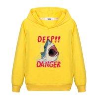 Erkek Hoodies için Köpekbalığı Tasarım Sonbahar Uzun Kollu Kazak Çocuklar Baskı Moda Kazak Ince Pamuk Peluş Çocuk Ceket 6-13 T Erkek Giysileri G0917