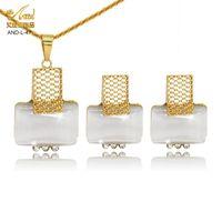 Pendientes Collar Opal Conjunto Sin cuello para Mujeres 24k Oro Dubai Jewlery Jewlery Pendiente Joyería Boda Joyería nupcial Pantalla Africano turco Nige