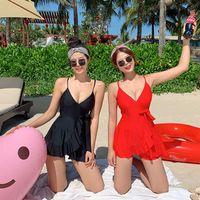 Damen Sommer Baden Push Up One stück Gürtel Feste Korea Swimwear Badeanzug Frauen mit Rock Schwimmen Anzug Kleid
