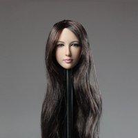 """1/6 scala asiatica femminile capelli lunghi testa intaglio della ragazza della ragazza scolpita per il corpo senza cuciture della figura di azione 12 """""""