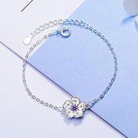 Enlace, cadena al por mayor 925 plata rosa / púrpura flor de cerezo flor link mujer simple pulsera para joyería esterlina regalo