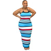 Spring and Summer Women's Striped Print Suspender Sleeveless Sexy Large Size Dressys0q