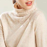 Turtleneck Cashmere Хлопок смеси от ажурной кладки Свитер-свитер Женщины 2020 осень зимний джемпер Sweter халат тянуть Femme Pullover Sweaters1