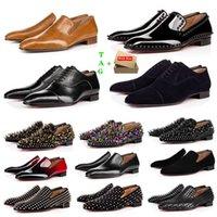 Marca Mens Rosso Bottom Shoes Designer Basso Rivetti Appartamento uomo Business Banchetto Abito da banchetto Luxurys Brevetto in pelle scamosciata Spikes Genuine Stylist Pelle