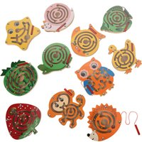 Wooden Magnetic Track Maze Toy Cute Animal Wooden Toy Brain Teaser Intellectual Jigsaw Board Kids Early Educational Puzzle Game 1775 Y2