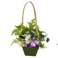 Творческий водонепроницаемый цветок упаковочные сумки крафт бумаги бонсай пакет растений горшок с бумажной веревкой DHF6189
