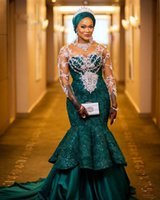 Aso Ebi Mermaid Evening Dresses Long Green Lace Appliques African Prom Dress Sheer Full Sleeve Arabic Formal Party Gowns Plus Size