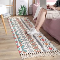 Carpets European Style Cotton And Linen Rug Bedroom Tapestry Handmade Carpet Sofa Cushion Mat Decorative Blanket Tea Living Room