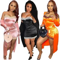 Women Two Piece Dress summer fall clothes sexy club lace panelled mini dresses Cardigan Cape sweatsuit spaghetti strap jacket outfits outerwear sheath column 01606