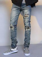 bike street Winter high stitching camouflage knee patch slim elastic feet worn jeans