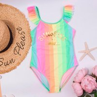 One-Pieces Baby Girl Summer Clothes 2021 Kids Swimsuit Rainbow Sunshine Backless Beach Siamese Bathing Suit Maillot De Bain Fille E1