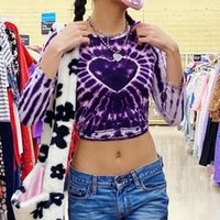 Women's T-Shirt Y2K Aesthetic Purple Tie Dye Print Cropped Tshirt Long Sleeve Graphic T Shirts Heart Pattern Cute Kawaii E Girl Clothes