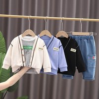 Boys Clothing Sets Boy Suits Baby Clothes Cotton Autumn Winter Long Sleeve Cardigan Coat Trouser Pants T-shirts Striped Infant Outfits Jeans Wear B7263