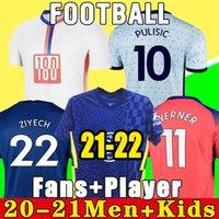 تايلاند 100th 20 21 Werner Havertz Chilwell Ziyech Soccer Jerseys 2021 قميص كرة القدم السابق كانتي جبل 4th الرجال الاطفال مجموعة أطقم قمم