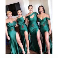 Emerald Green Mixed Style Bridesmaid Dresses Plus Size Mermaid African High Thigh Split Wedding Guest Dress Party Evening Gowns Custom Made