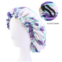 Satin Bonnet tie-dye shower cap Adjustable Double Layer Sleep Caps Woman Parents Tie dyed Turban Hair Cover Night Hat KKB7107