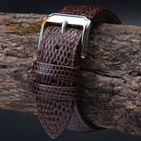 Wholesale 18mm 20mm 22mm 24mm Brown MAN New Top Grade Lizard Pattern Genuine Leather Watch BAND Strap Free Delivery h85h#