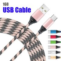 168D High speed Quality Micro USB Charging Charger Cables 1M 3Ft 2M 6Ft 3M 9Ft Long Premium Nylon Braided TYPE C Cable Sync data Cord for Android Cellphone