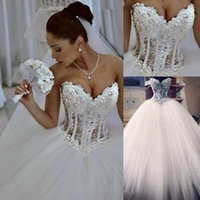 2020 Ball Gown Wedding Dresses Sweetheart Corset See Through Floor Length Princess Bridal Gowns Beaded Lace Pearls Custom Made HY