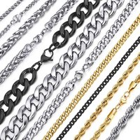 Chains Stainless Steel Chain Necklace For Men Women Curb Cuban Link Black Gold Silver Color Punk Choker Fashion Male Jewelry Gift