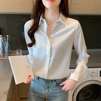 Bahar Kore Moda Ipek Kadın Bluzlar Saten Katı Bayan Üstleri Ve Bluzlar Artı Boyutu XXXL Ofis Bayan Uzun Kollu Kadın Gömlek 201202