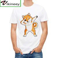 Vagerytees engraçado t camisa homens pegando shiba inu moda tees desenhos animados cachorro t-shirt branco doggo e sua bola tops hipster