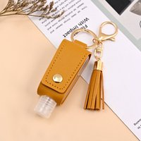 Party Hand Sanitizer Holder With Bottle PU Leather Cover Tassel Keychain Portable Disinfectant Case Empty Bottles Holders Keychains GW10218