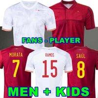 لاعب النسخة 2020 2021 España Rodrigo Pedri Ferran Koke Spain Soccer Jersey Morata Ramos Iniesta Saul Thiago Gaya Football Soccer Shirt Camisetas de Futbol Moreno