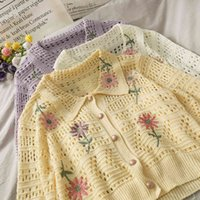 Casual Dresses Sweet Flower Embroidery Hollow Out Thin Sweater Cardigan Coat Women 2021 Spring Ladies Single Breasted Lapel Knitte