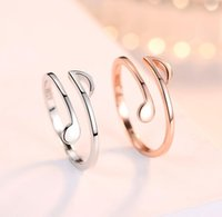 Open Rings Shining Music Notes Comma Index Finger-Rings Cute Adjustable Smooth Thin Ring for Women Girls