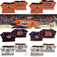 Edmonton Oilers Jerseys 97 Connor McDavid 74 Ethan Bear 29 Leon Draiseaitl 99 Wayne Gretzky 93 Nugent-Hopkins الكبار الحجم S-3XL الهوكي الفانيلة